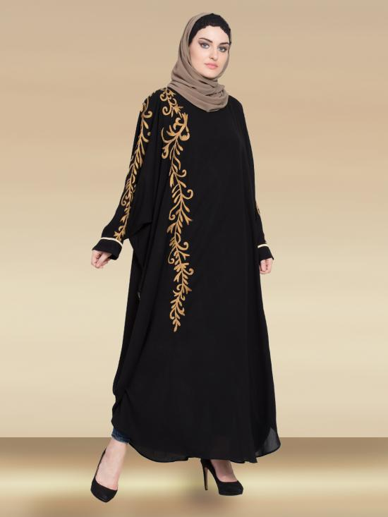 100% Polyester Satin Dubai Kaftan With Thread Embroidered Butterfly In Black and Gold