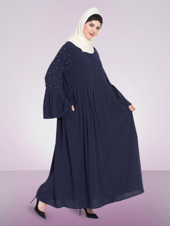 Nazneen 100% Polyester Pleated and Pearls Embroidered Front Open Abaya in Navy Blue