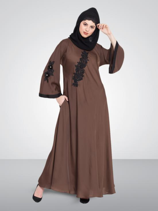 Nazneen 100% Polyester Satin Embroidered Patch Umbrella Abaya In Coffee Brown