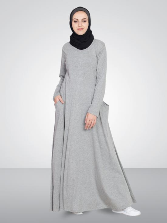 Nazneen 100% Cotton Knits Extended Pocket Jersey Travel Abaya In Silver Grey
