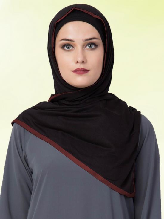 Bashariya Jersey Viscose  Stole Hijabs In Black