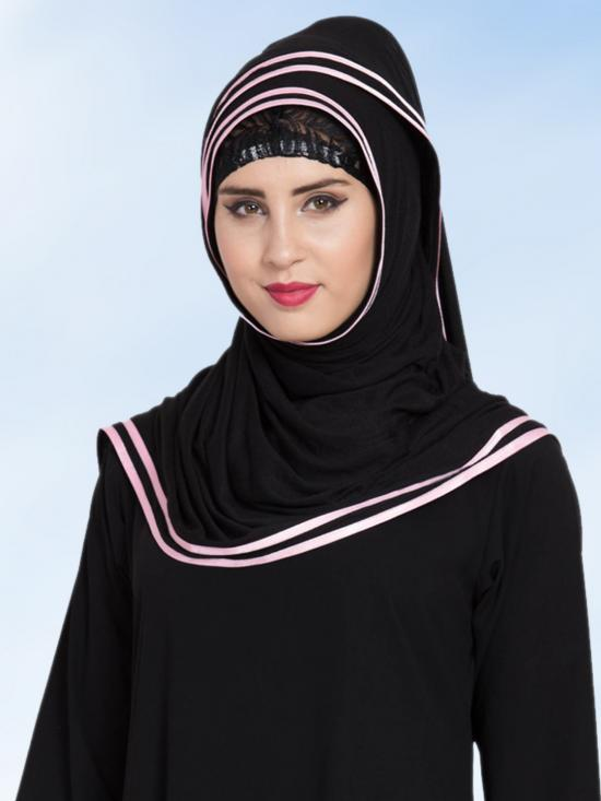 Jersey Viscose  Stole Hijabs in Black