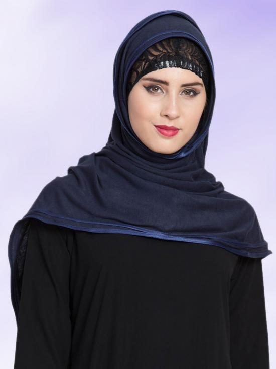 Jersey Viscose  Stole Hijabs in Navy Blue