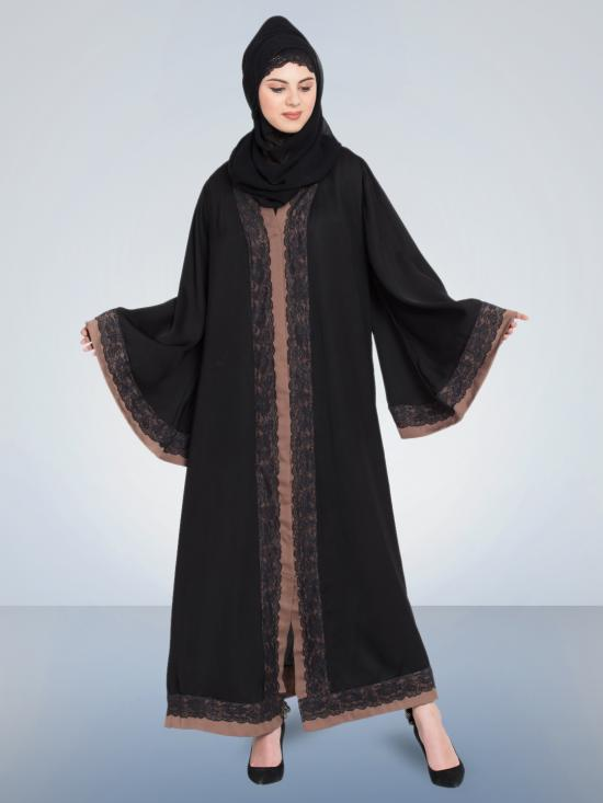 100% Polyester Dubai Kaftan Front Open With Lace And Contrast Band In Black And Brown