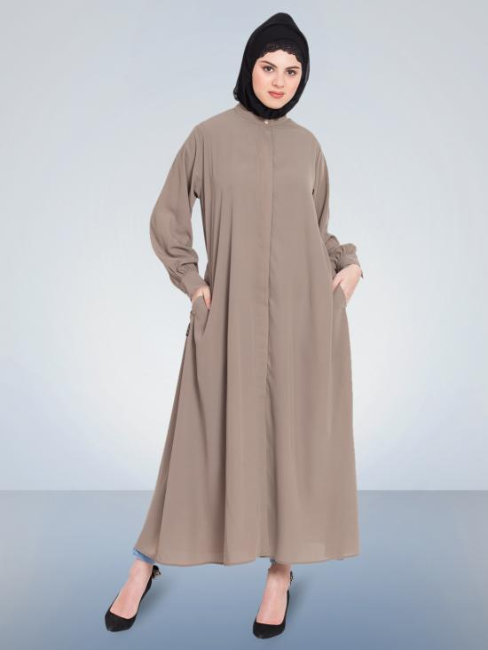 100% Polyester Crepe Hidden Placket Front Open Casual Abaya In Khaki
