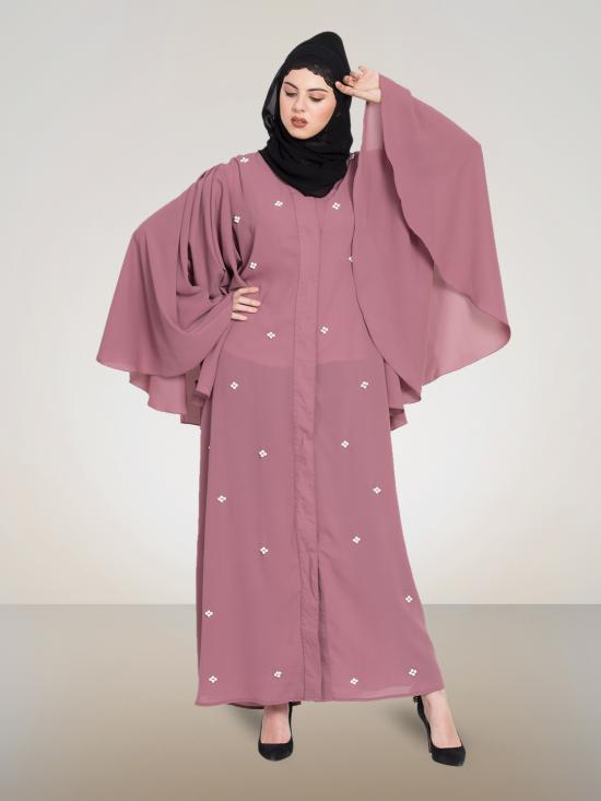 100% Polyester Crepe Dubai Kaftan Front Open Pearls With Butterfly Sleeve In Mauve