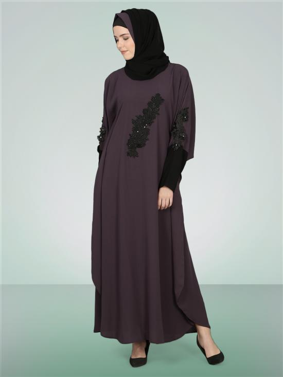 100% Polyester Crepe Patch Contrast Cuff Kaftan In Purple And Black
