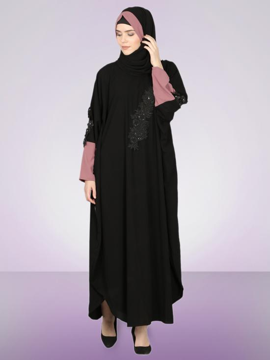 100% Polyester Crepe Patch Contrast Cuff Kaftan In Mauve And Black