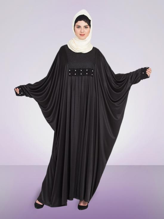 100% Polyester Knits Pleated Butterfly Kaftan in Black