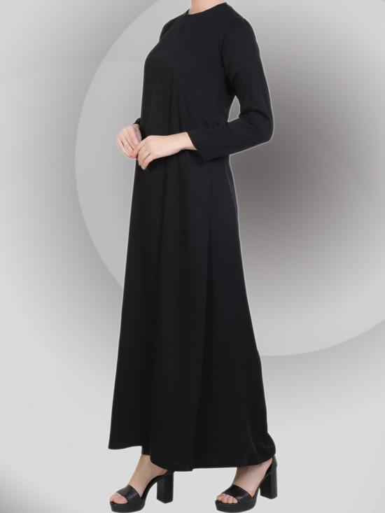 Silky Nida Matte Plain and Simple Abaya With Side Pockets In Black