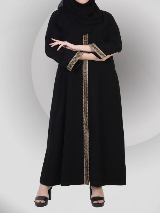 Nida Matte Front Open Abaya In Arabian Fit With Lacework With A Complementary Hijab In Black And Beige