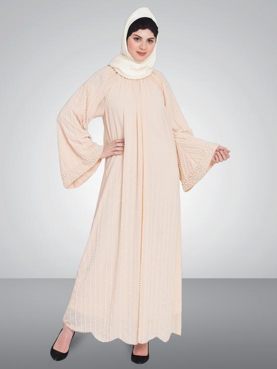100% Polyester Pearls Hand Work Halter Neck Abaya In Peach