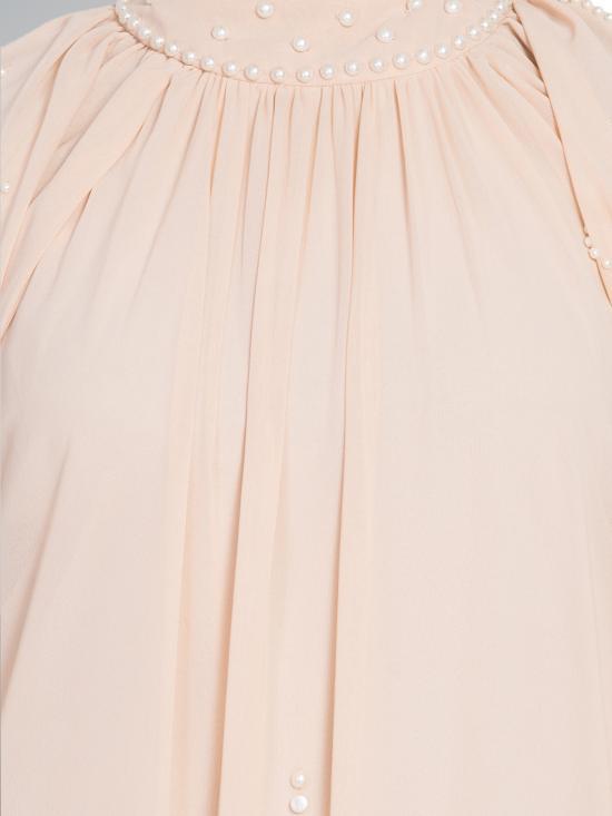 100% Polyester Pearls Hand Work Halter Neck Abaya in Peach