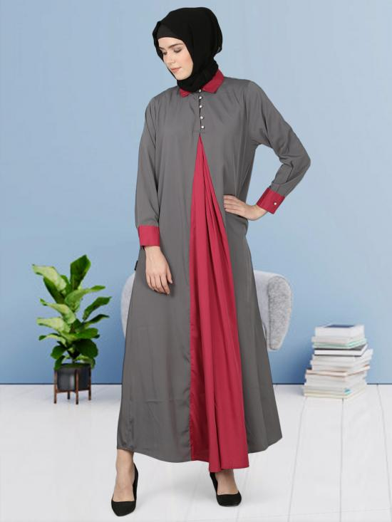 100% Polyester Crepe Contrast Yoke Abaya In Grey And Wine