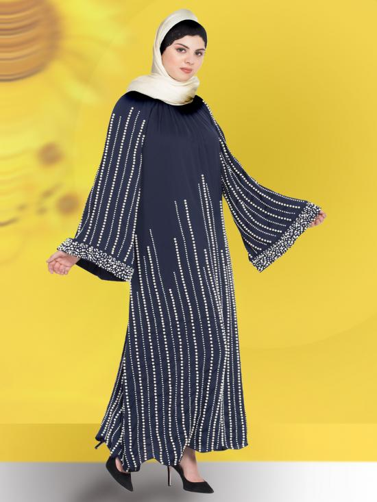 100% Polyester Satin Abaya With Full Hand Work Pearls Embellished In Navy Blue