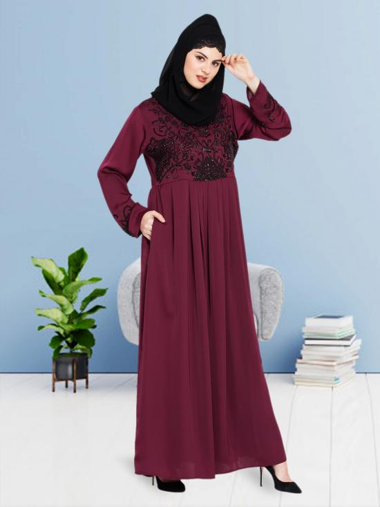 100% Polyester Satin Abaya With Hand Embroidered in Wine