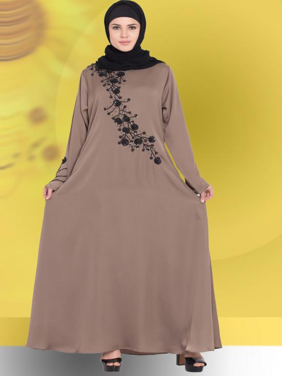 100% Polyester Satin Abaya With Hand Work Beads Embellished In Coffee Brown