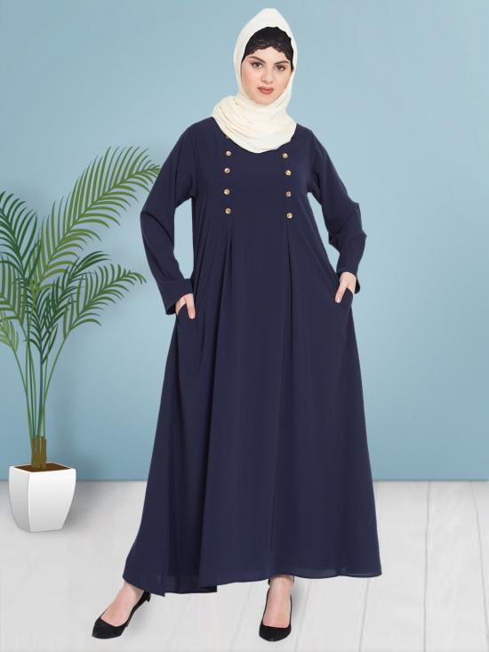 100% Polyester Crepe Abaya With Pleat And Decorative Button In Navy Blue