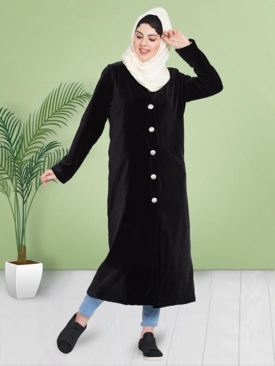 100% Cotton Coat Abaya With Velvet Front Open In Black