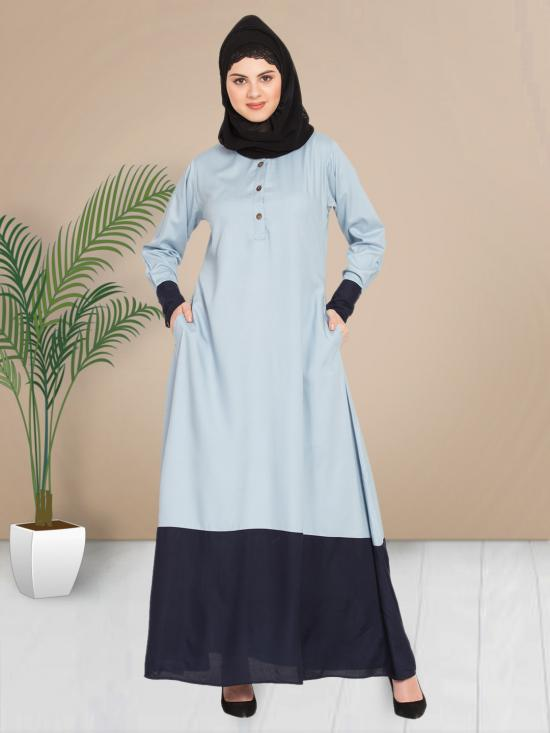 100% Viscose Rayon Abaya With Contrast Bottom & Cuff In Sky Blue And Navy Blue