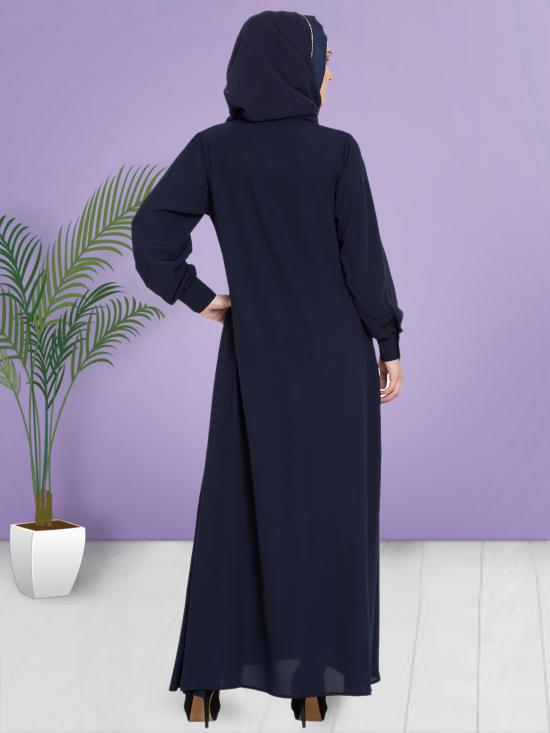 100% Polyester Crepe Abaya With Hidden Placket Front Open In Navy Blue