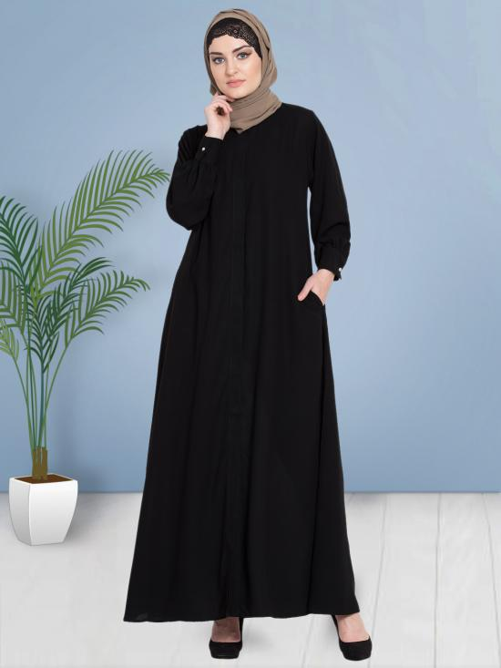 100% Polyester Crepe Abaya With Hidden Placket Front Open In Black