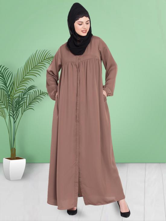 100% Polyester Satin Abaya With Front Open Gather At Bust In Coffee Brown