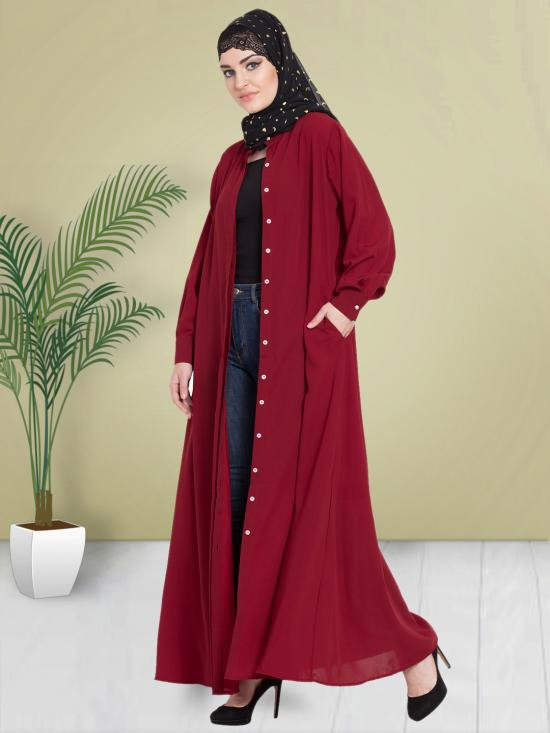 100% Polyester Crepe Abaya With Hidden Placket Front Open In Maroon