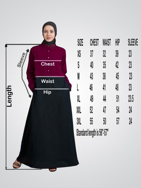 100% Polyester Crepe Abaya With Pleat And Decorative Button in Black
