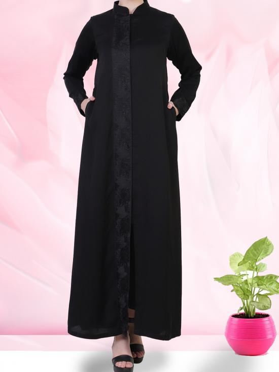 Nida Satin Front Open Abaya With Black Lacework Along With A Complementary Hijab In Black