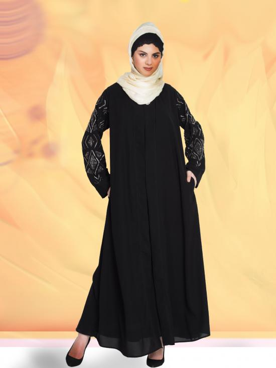 100% Polyester Crepe Abaya Sleeve Embroidered Front Open With Inner In Black