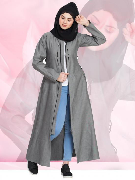 100% Cotton Denim Abaya Front Open With Zip In Silver Grey