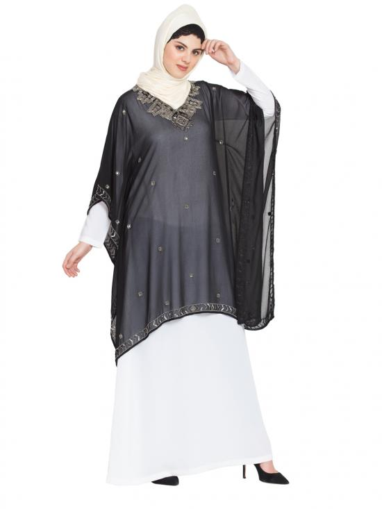 100% Polyester Abaya With Double Layer Embellished In Black And White