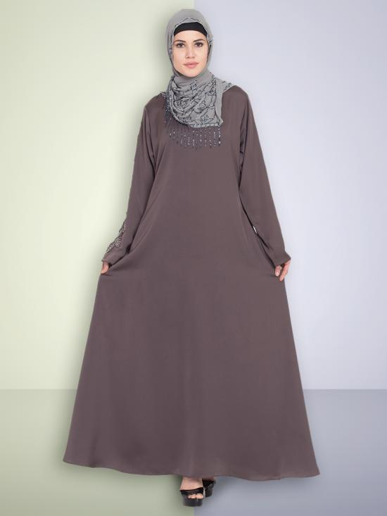 100% Polyester Satin Abaya With Sleeve Embroidered Umbrella In Ash Brown