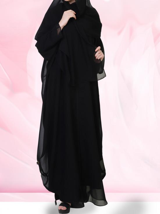 Nida Matte Set Of Inner Abaya, An Upper Georgette Cape And A Complementary Hijab In Black