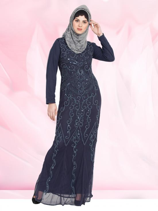 100% Polyester Abaya With Full Embellished In Navy Blue