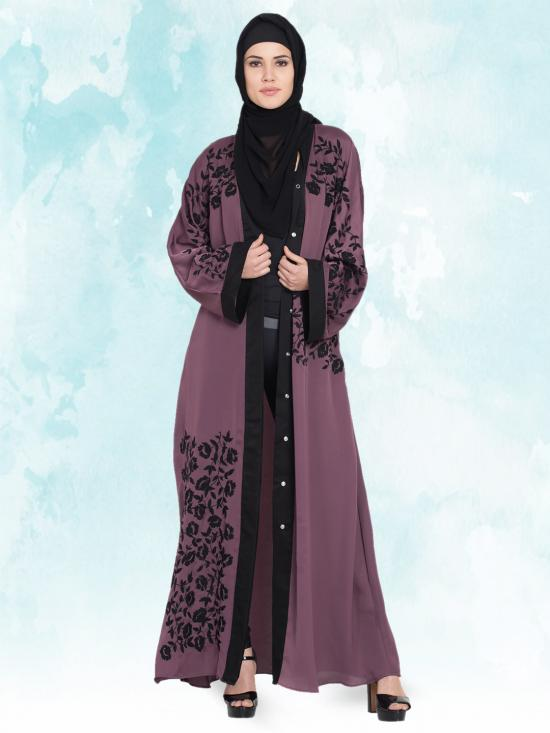 100% Polyester Satin Dubai Kaftan With Front Open Embroidered in Plum