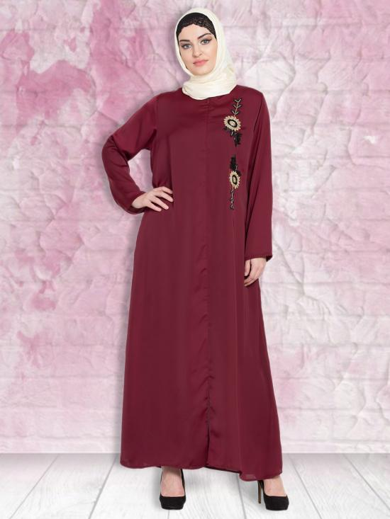 100% Polyester Satin Nida Abaya With Front Zip And Slit Hand Work In Maroon