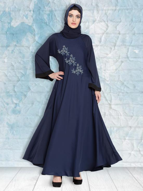 100% Polyester Satin Nida Abaya Hand Embroidered Umbrella In Navy Blue