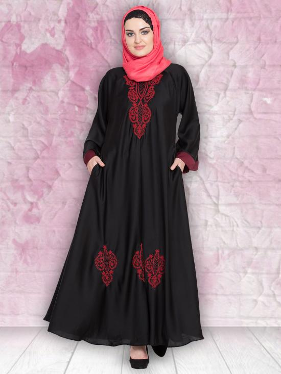 100% Polyester Satin Nida Abaya With Thread Embroidered Umbrella In Black and Red
