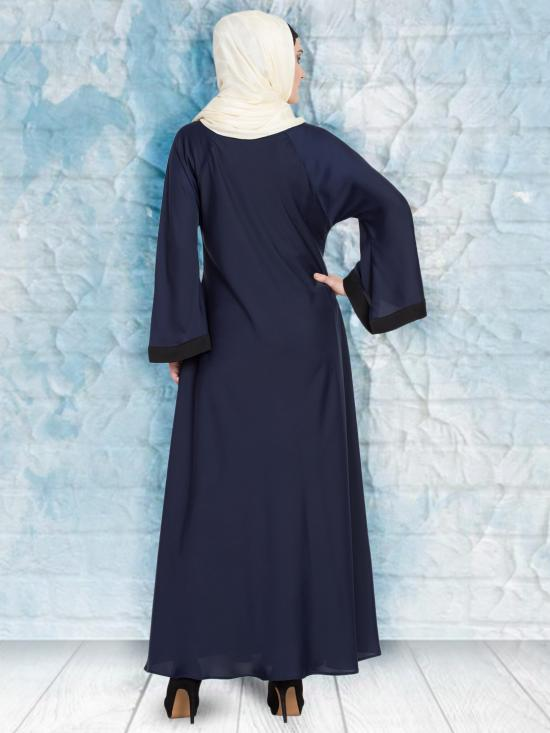 100% Polyester Satin Nida Abaya With Thread Embroidered Umbrella In Navy and White
