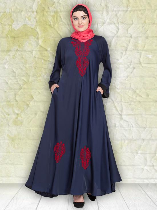 100% Polyester Satin Nida Abaya With Thread Embroidered Umbrella In Navy And Red