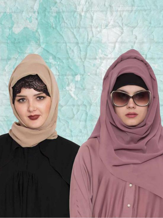 Super Fine Georgette Set Of Two Stole Hijabs In Mauve And Beige