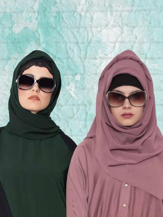 Set of Two Stole Super Fine Georgette Hijabs in Bottle Green and Mauve