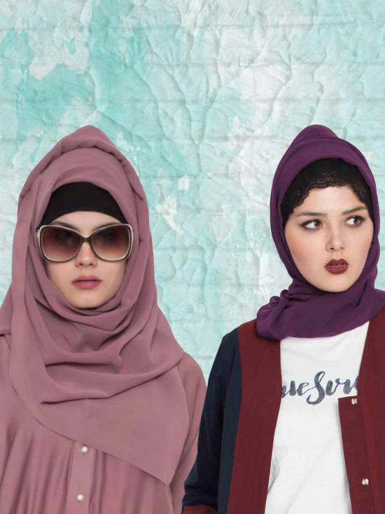 Super Fine Georgette Set Of Two Stole Hijabs In Purple And Mauve