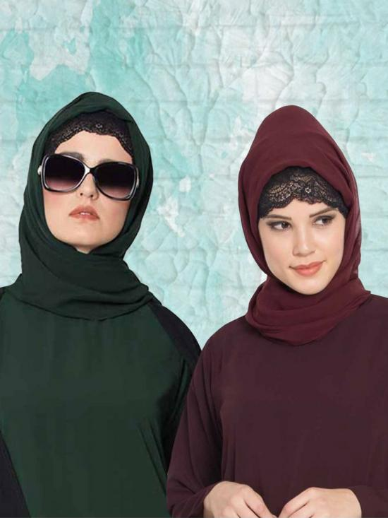 Super Fine Georgette Set Of Two Stole Hijabs In Wine And Bottle Green