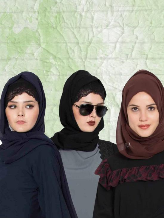 Super Fine Georgette Set Of Three Stole Hijabs In Black, Navy Blue And Brown