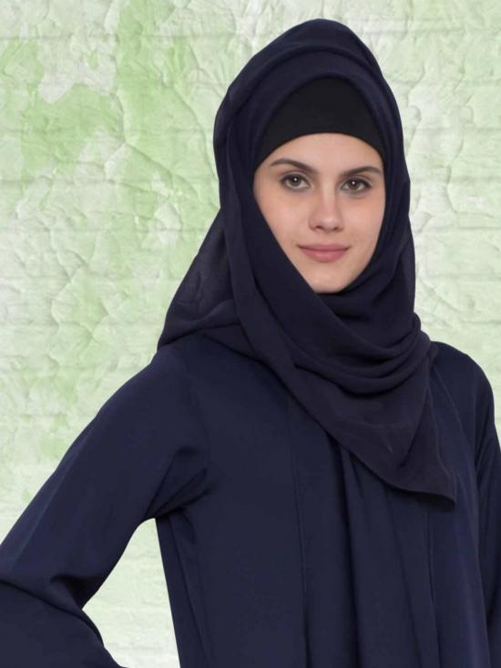 Set of Three Stole Super Fine Georgette Hijabs in Black, Navy Blue and Brown