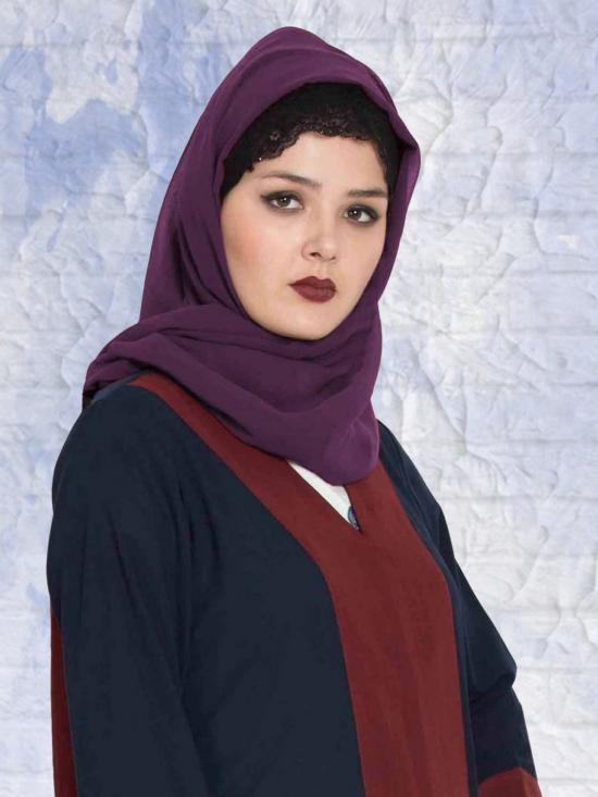 Set of Three Stole Super Fine Georgette Hijabs in Black, Navy Blue and Purple