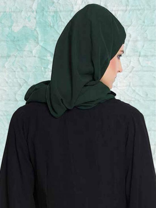 Set of Three Stole Super Fine Georgette Hijabs in Black, Navy Blue and Bottle Green